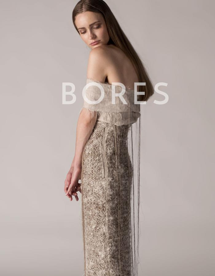 andrea bores, linen emboridered top and knitted skirt