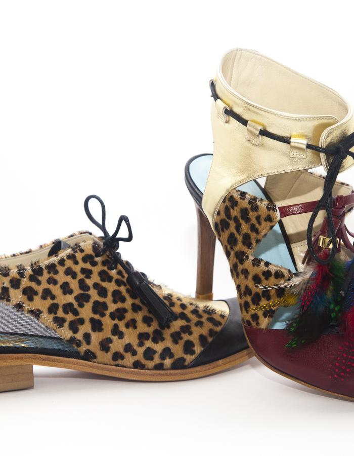 baby jaguar or cheetah printed pony hair oxford brogues and heels, gold, wine and black leather blocking and tassels