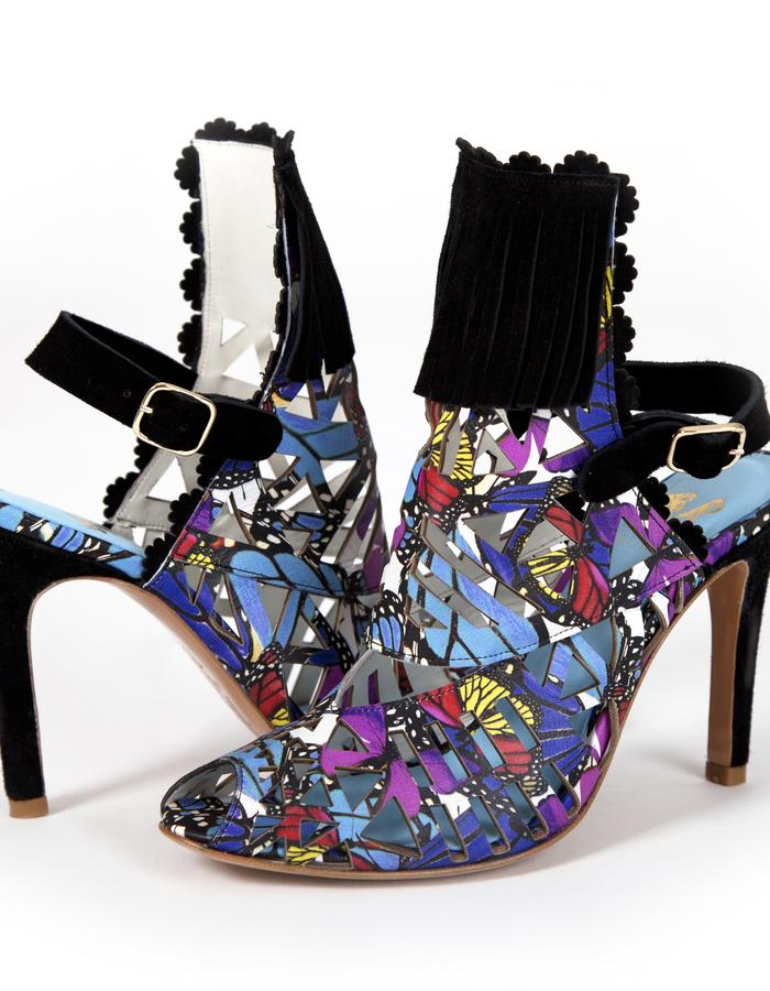 butterfly print, laser cut lamb leather with black suede fringe heeled boot sandals
