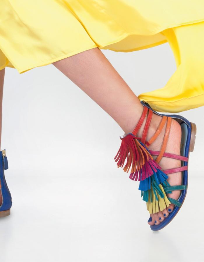 colorful suede fringe sandals with leather sole