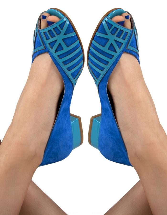 Laser cut paten leather over suede sabrinas in color-blocking with side peeptoe