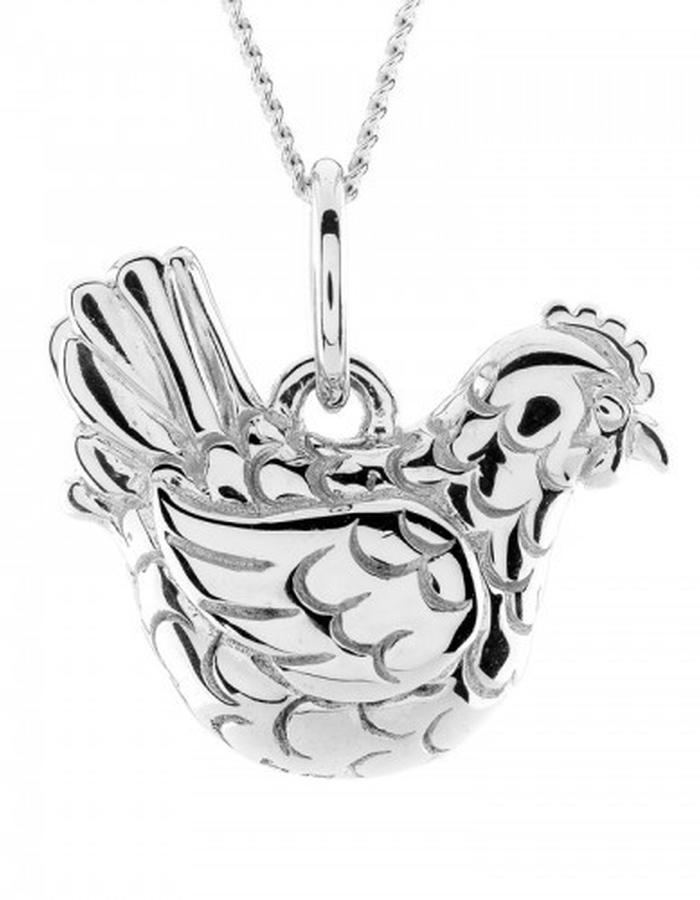 Silver hen pendant by by Strange of London