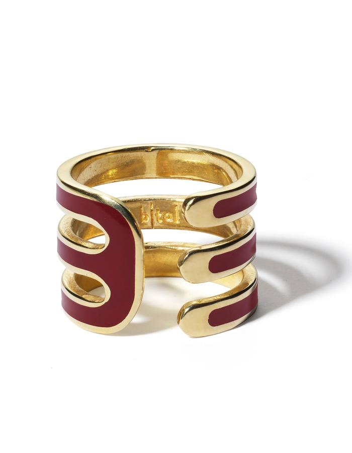 'Double U' gold plated ring with bordeaux enamel.
