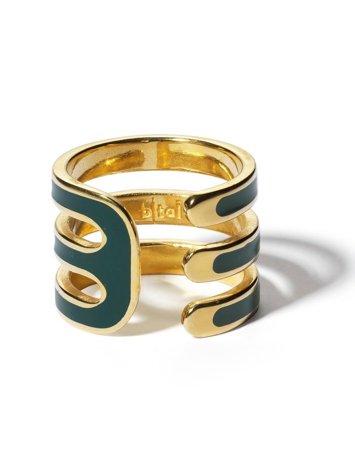 'Double U' gold plated ring with dark green enamel.