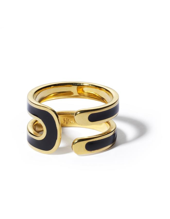 'U' gold plated ring with black enamel.