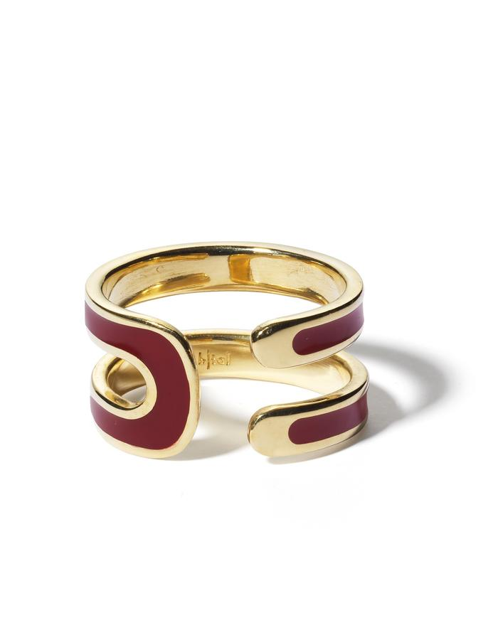 'U' gold plated ring with bordeaux enamel.