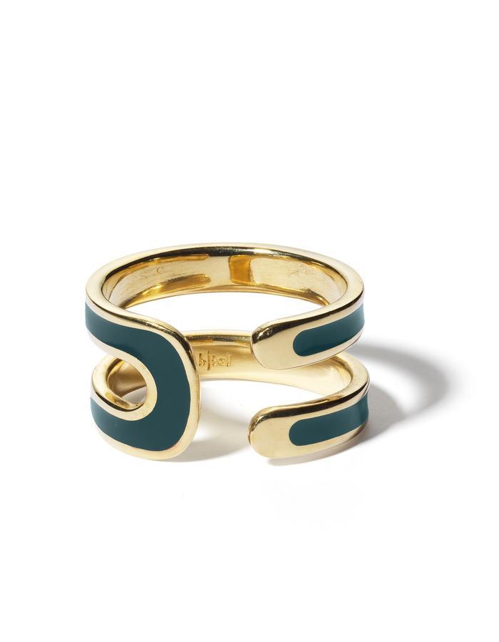 'U' gold plated ring with dark green enamel.