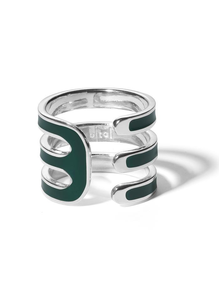 'Double U' sterling silver ring with dark green enamel.