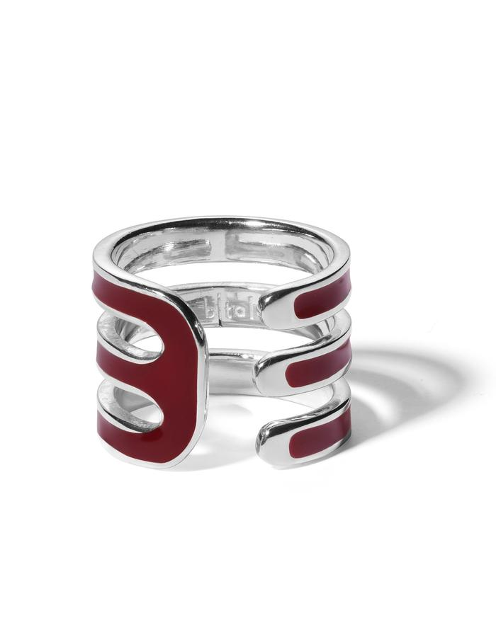 'Double U' sterling silver ring with bordeaux enamel.