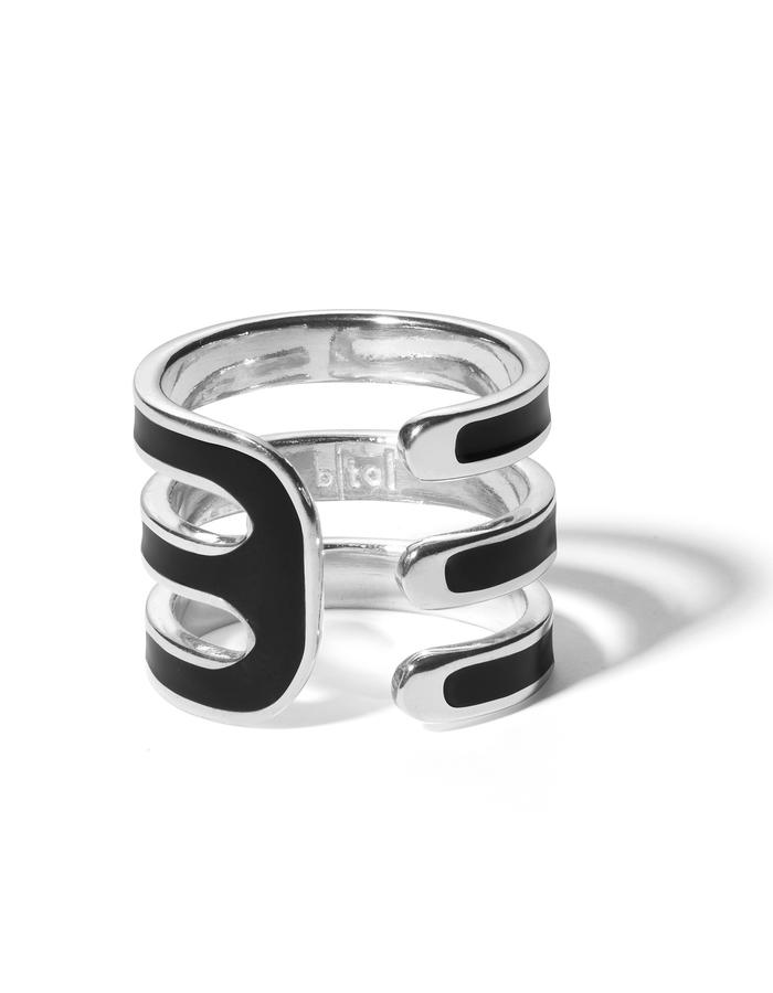 'Double U' sterling silver ring with black enamel.