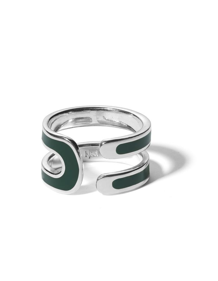 'U' sterling silver ring with dark green enamel.