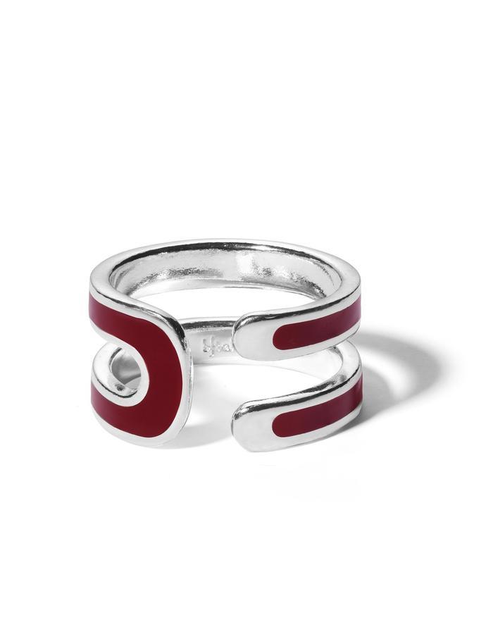 'U' sterling silver ring with bordeaux enamel.