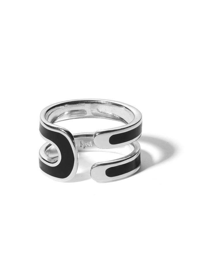 'U' sterling silver ring with black enamel.