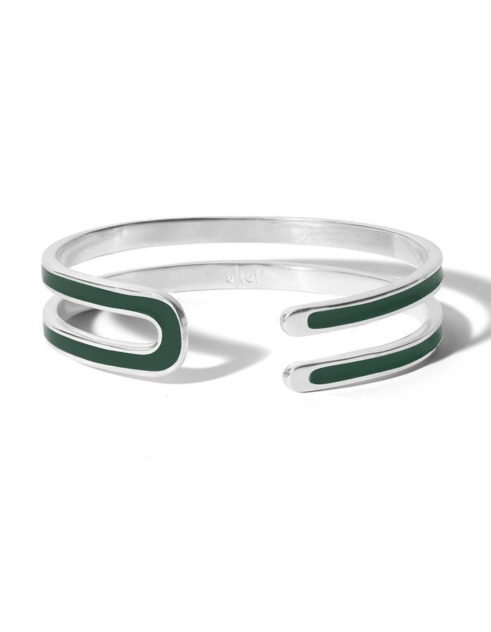 'U' sterling silver cuff with dark green enamel.
