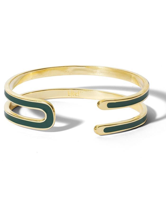 'U' gold plated cuff with dark green enamel.