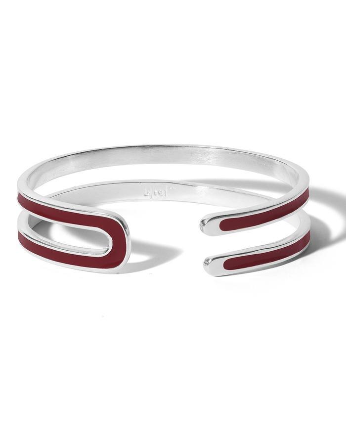 'U' sterling silver cuff with bordeaux enamel.