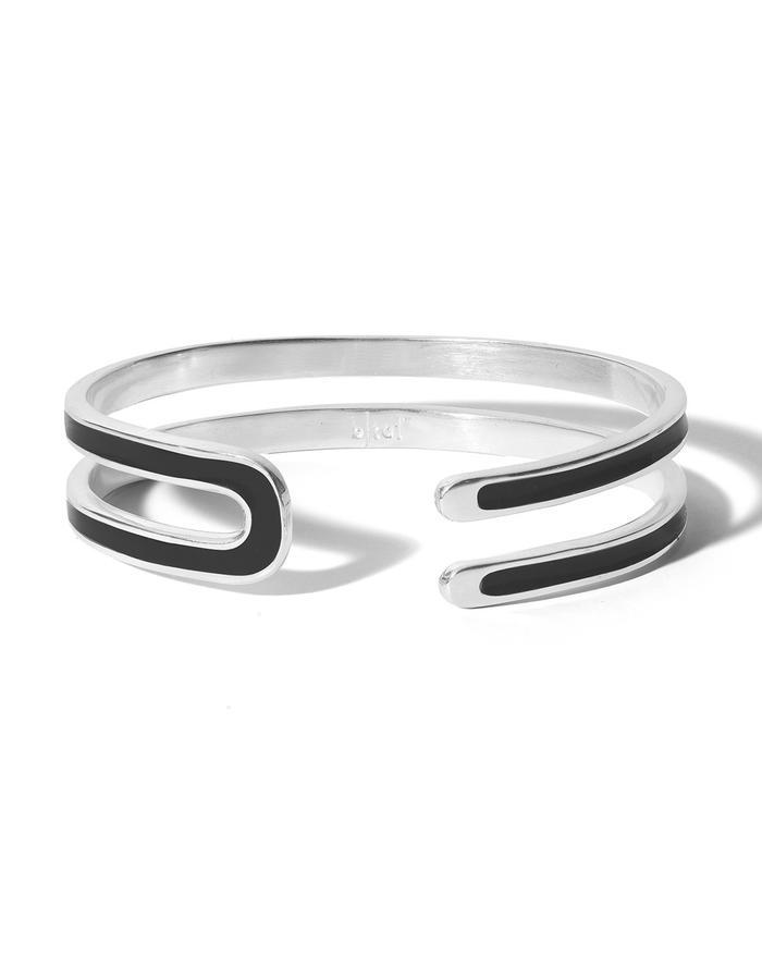 'U' sterling silver cuff with black enamel.