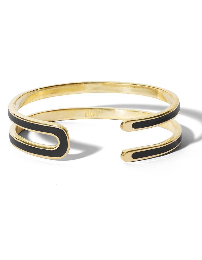 'U' gold plated cuff with black  enamel.