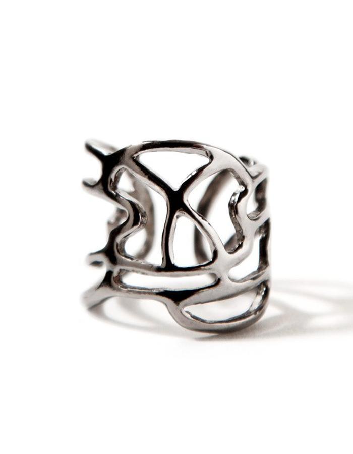 'Line one' black platinum plated ring.