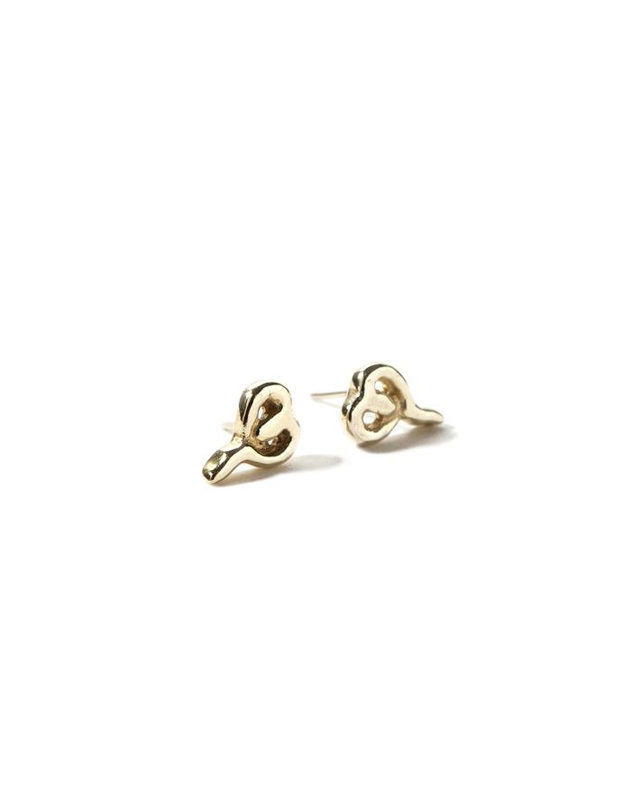'Line one' gold plated stud earrings.