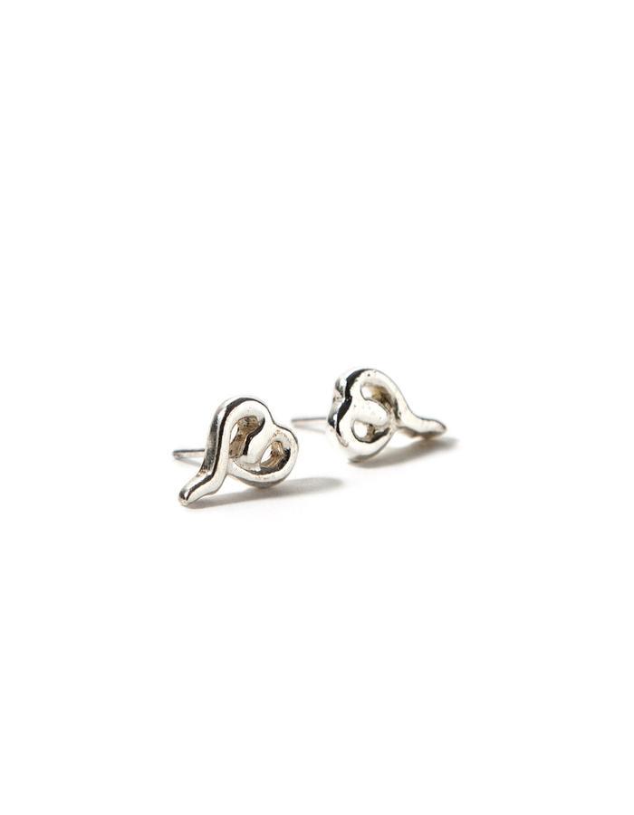 'Line one' sterling silver stud earrings.