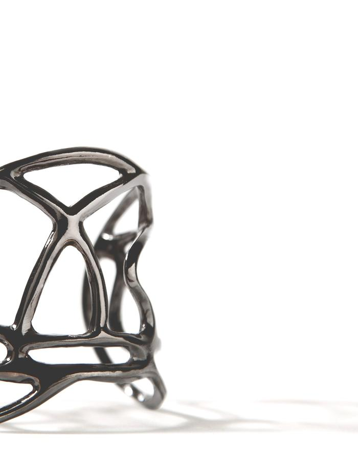 'Line one' black platinum plated cuff.