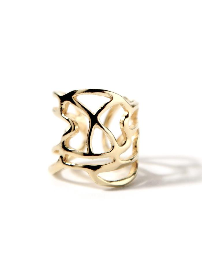 'Line one' gold plated ring.