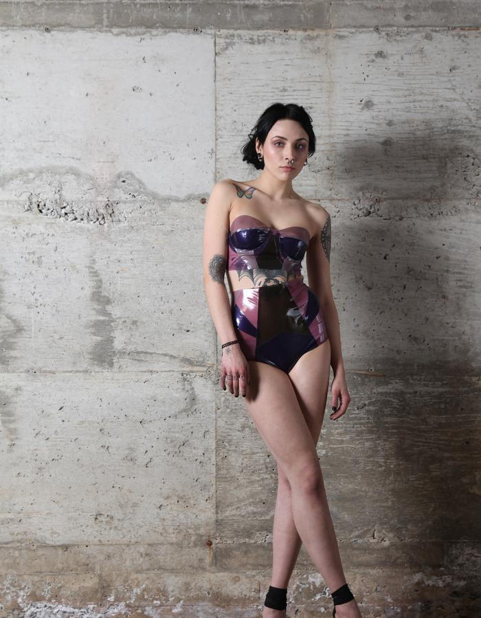Crystal Cluster Latex Busiter and High Waist Panties