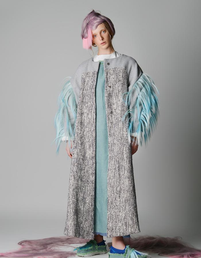 Hand Woven Silk Longline Coat With Hair Details