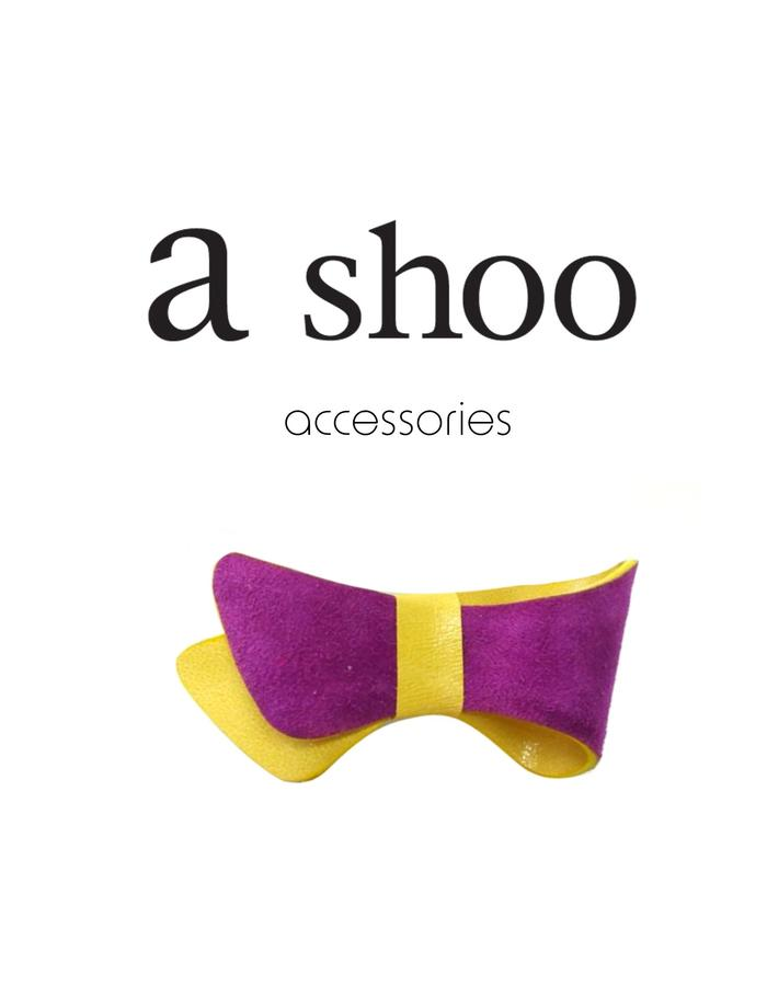 yellow violet leather bow