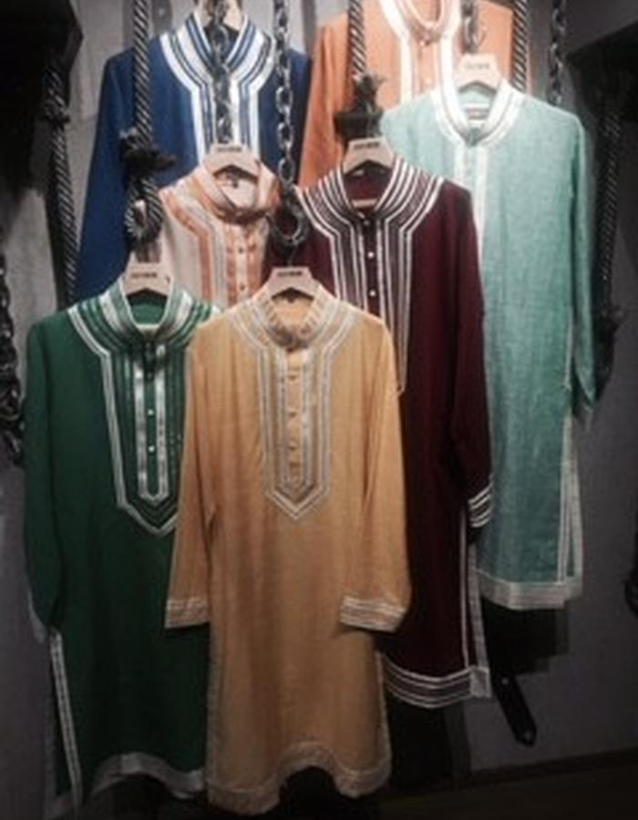 Mens kurta with silk yoke detailing