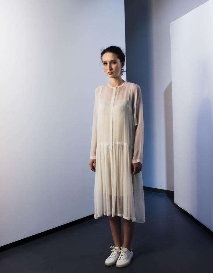Square sleeve silk dress