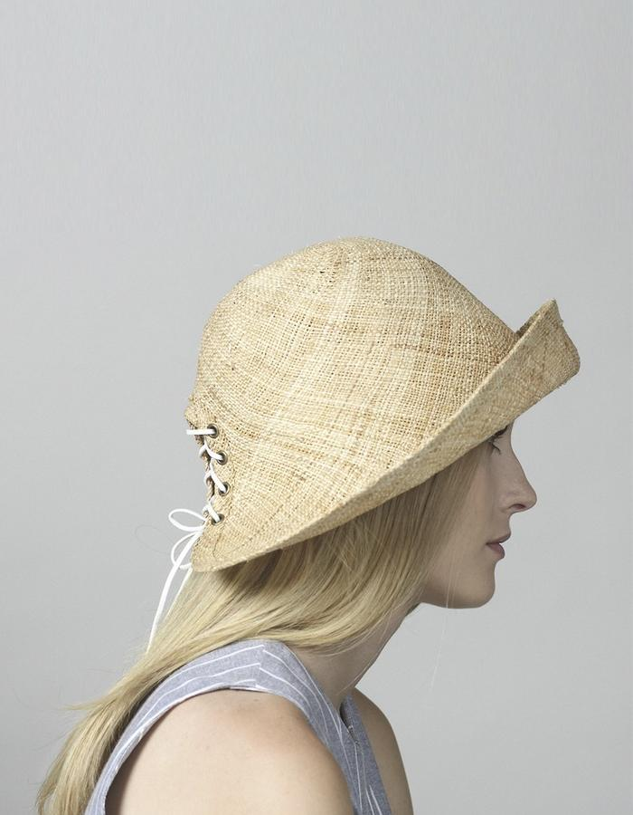 c1849377f46e4 ... Bucket Straw Hat with Laces At The Back ...