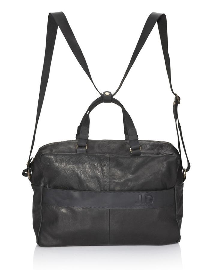 Black leather Duffle bag Multi way Leather handbag - leather backpack