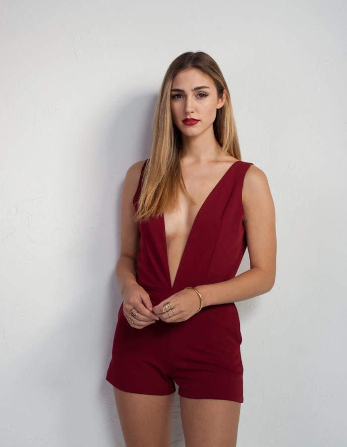 low cut playsuit in marsala Mahalia Brown designer label