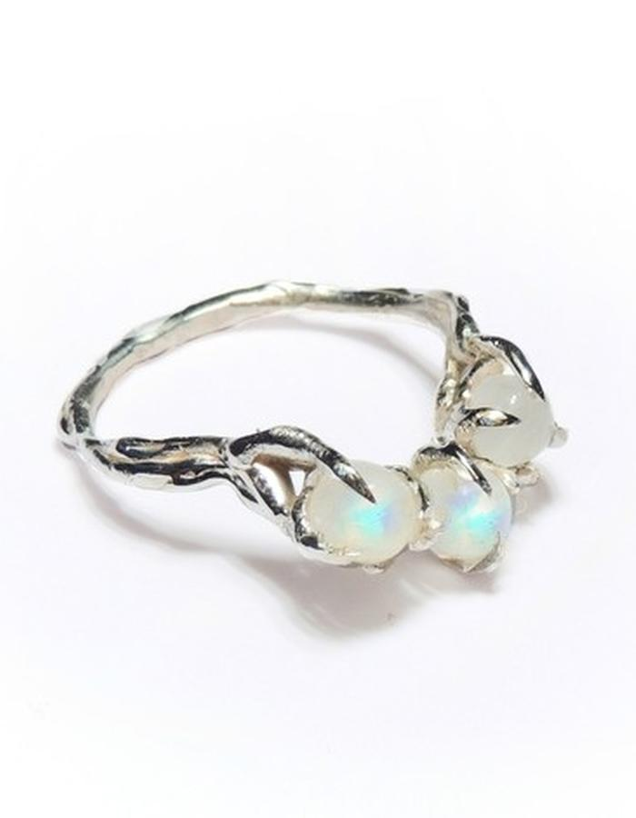solid sterling silver and rainbow moonstone