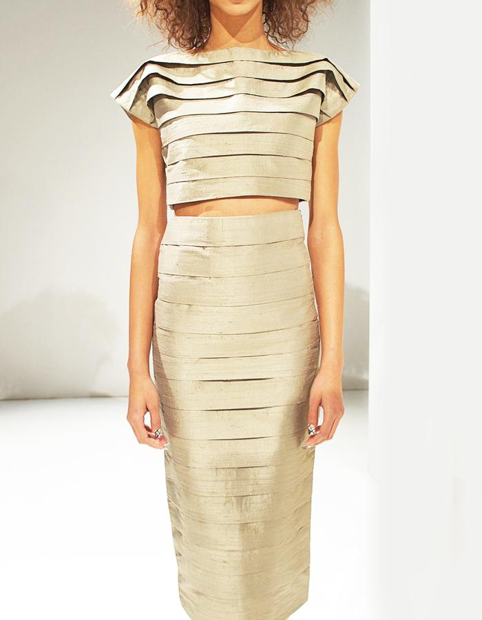 Pleated crop top and skirt in Jute Silk