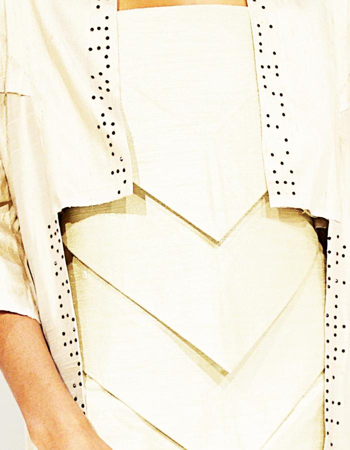 Triangular Dress and folded Kimono with Braille in Swarovski Crystals