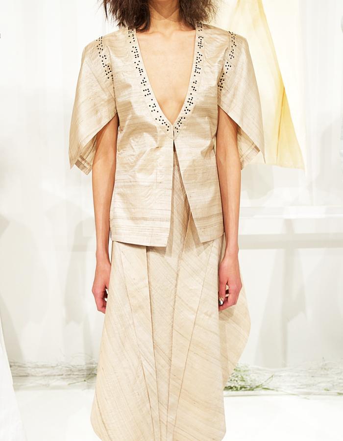 Silk Jute split top and skirt with Swarovski in Braille