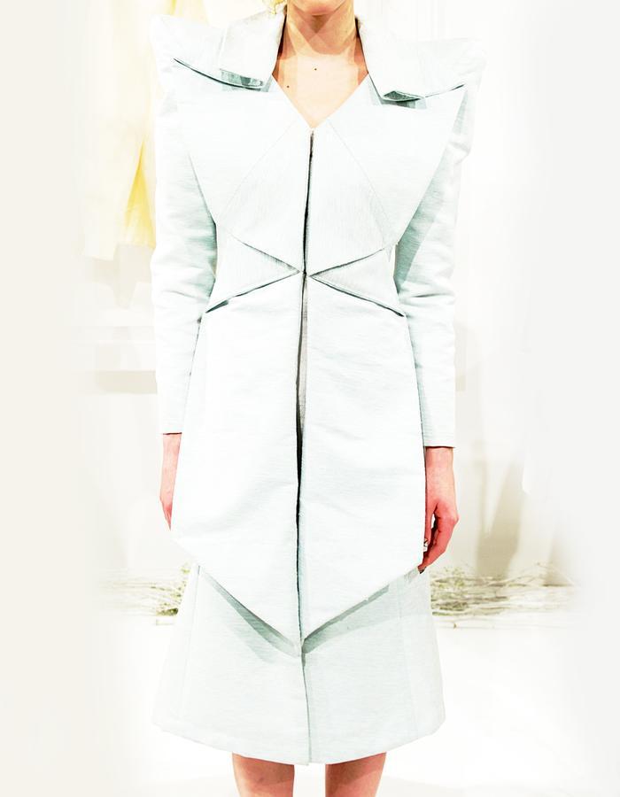 Angular shouldered Silk Linen dress with wide lapels