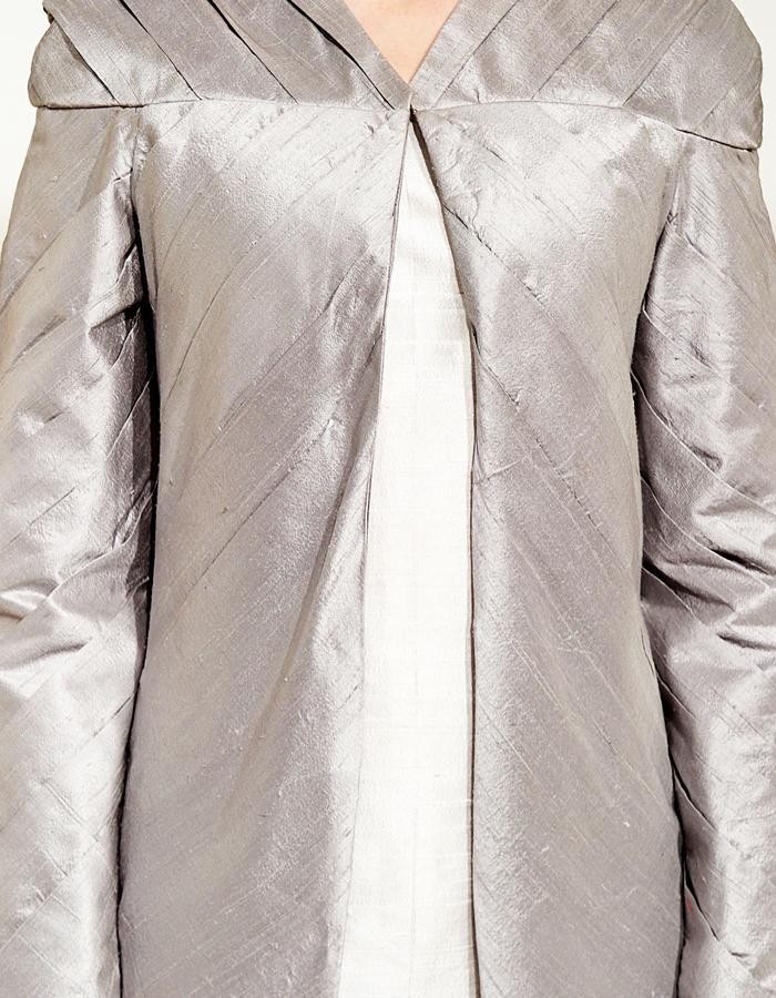 Hand Pleated Raw silk Jacket