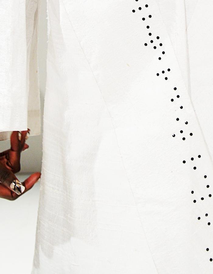 Raw silk Kimono Cape and Braille Detail in Swarovski Crystals