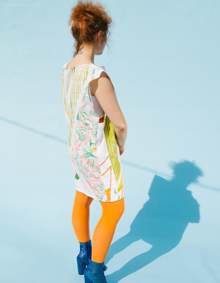 Hand painted textile, linen dress. geometric, avantgarde, minmalistic, art deco
