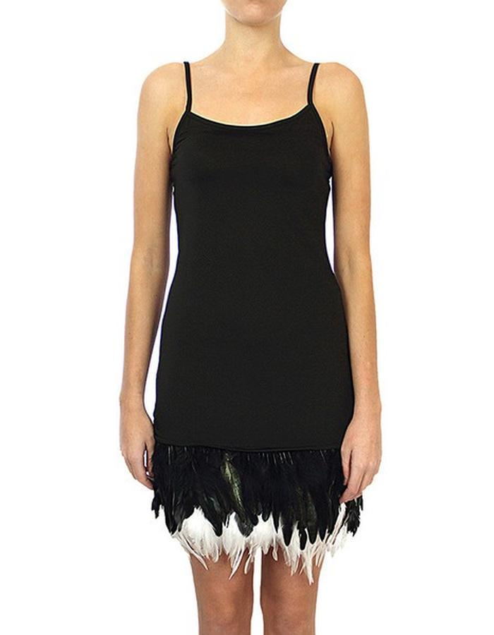 Majica Feathered Dress - Black/black-white feathers - lolominx - 1