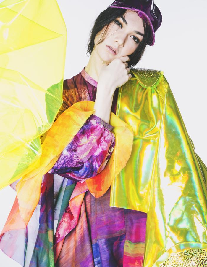 Elizabeth Yellow Holographic PU Coat and Rebekah skater dress