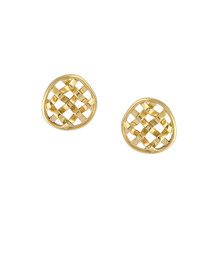 sheida farrokhi basket earrings gold