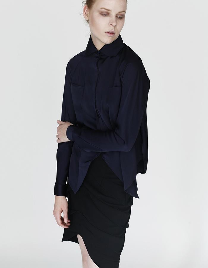 Origami shirt and pleating skirt YOJIRO KAKE  AW Japanese fashion designer based in Florence Italy
