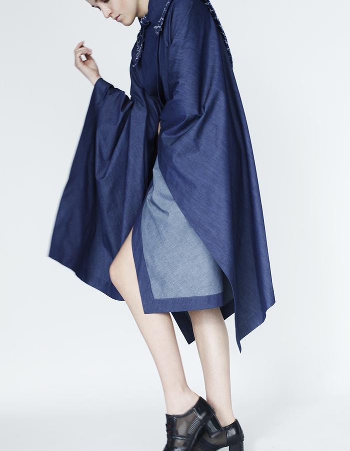 Origami denim limited edition cape YOJIRO KAKE  AW Japanese fashion designer based in Florence Italy