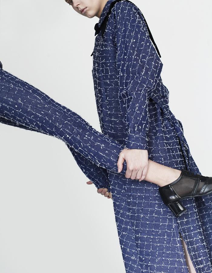 Origami denim limited edition trousers, maxi shirt YOJIRO KAKE  AW Japanese fashion designer based in Florence Italy