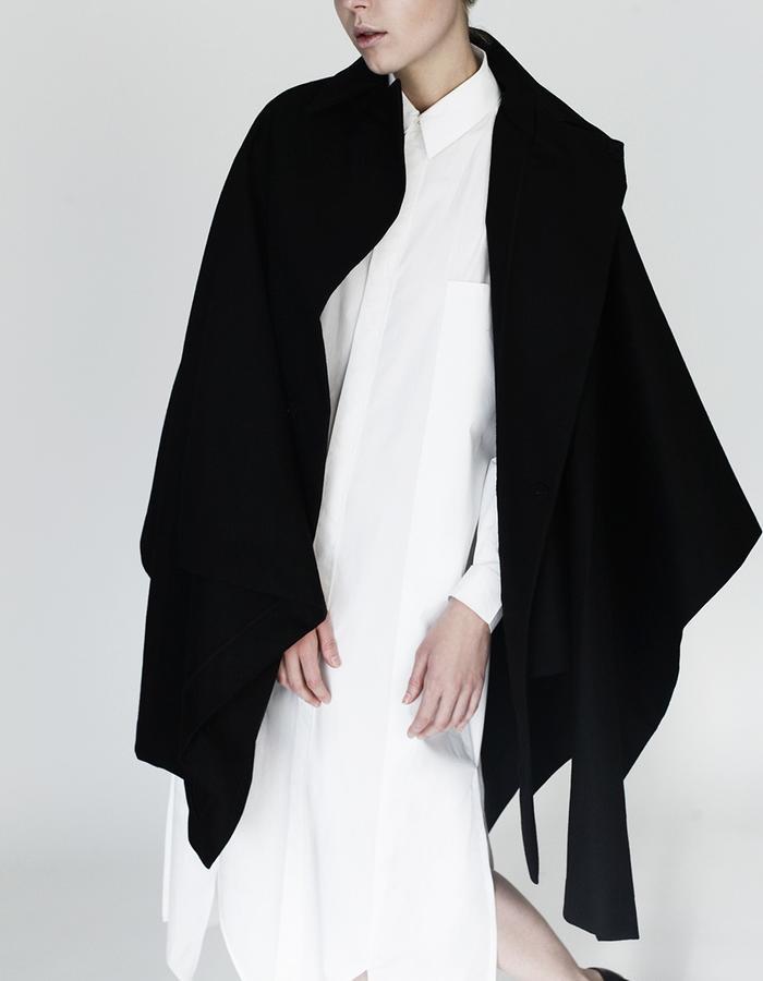 Origami maxi shirt, cape YOJIRO KAKE  AW Japanese fashion designer based in Florence Italy